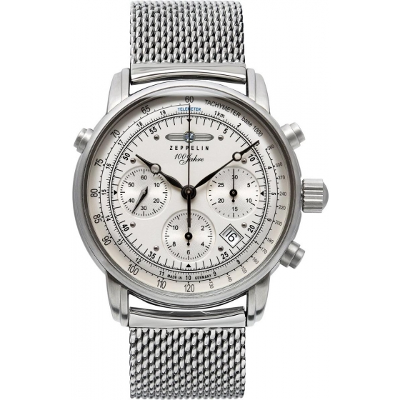 7618M-1-100 Years Automatic Chronograph Silver/Milanese - Zeppelin