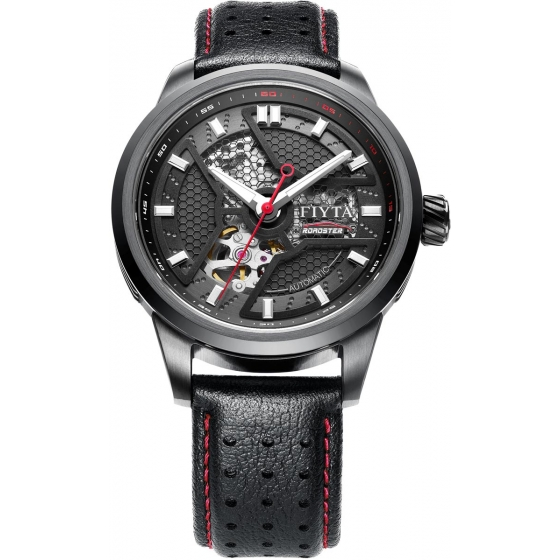 GA866011.BBB-New Extreme Roadster Skeleton Automatic Black/Red - Fiyta