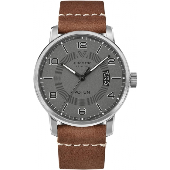 RB.40.445.40.13-New Classic Automatique Gris/Marron Cuir - Votum