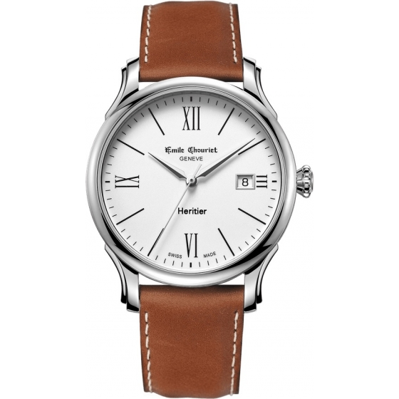08.1128.G.6.2.28.2-Héritier Automatic White/Leather - Emile Chouriet