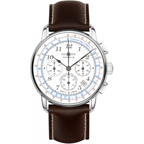 7624-1-LZ 126 Los Angeles Chrono Automatique Blanc/Marron - Zeppelin