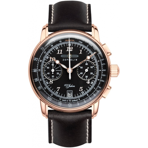 7676-2 -100 Years Chronograph Or Rose/Noir - Zeppelin