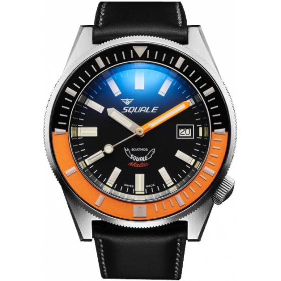 SQ-MATIC-BLKORBR-60 Atmos Matic Black/Orange Brushed - Squale