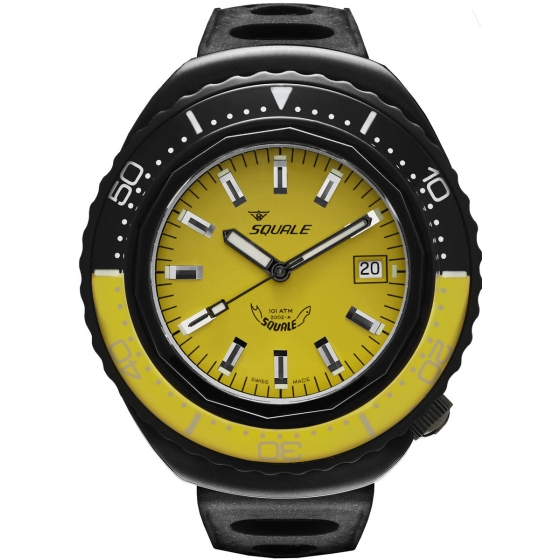 SQ-2002-BLKC-YL-101 Atmos 2002 Black Case Yellow/Black/Yellow - Squale