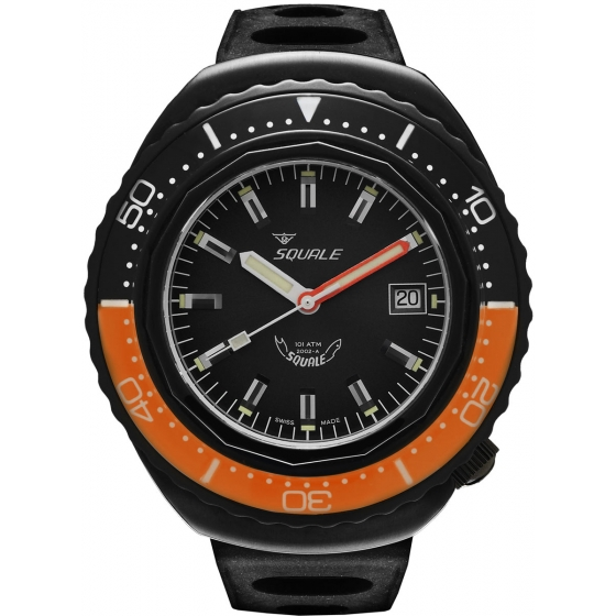 SQ-2002-BLKC-BLKOR-101 Atmos 2002 Black Case Black/Black/Orange - Squale